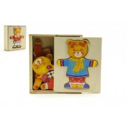 Šatník vkládačka medvěd dřevo 12,5x14x4cm 12m+