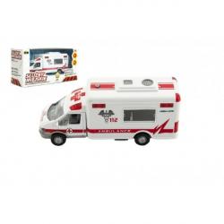Auto ambulance městské služby plast 15cm na baterie se zvukem se světlem v krabici 19x10x7cm