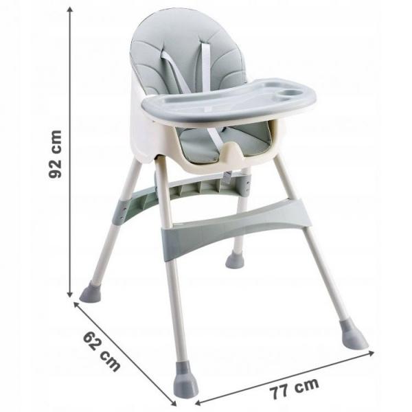Eco toys Jídelní židlička, stoleček 2v1 - šedá