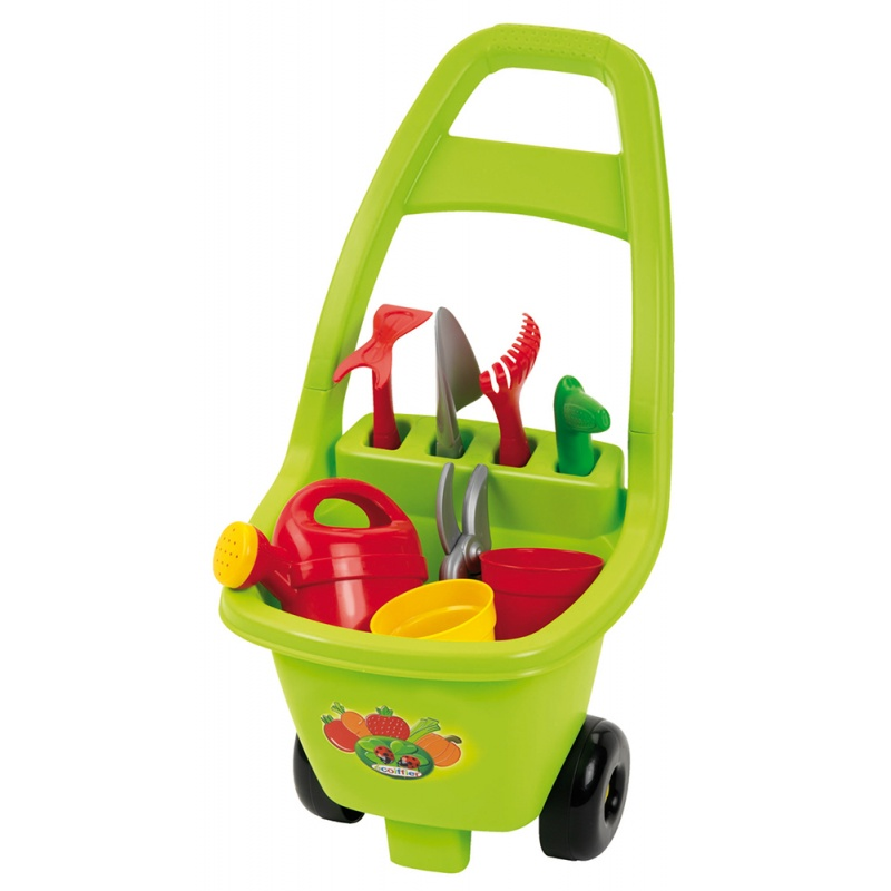 64656e2b4f79b Záhradný vozík s náradím, kvetináčmi a kanvičkou