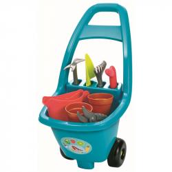 Záhradný vozík s náradím, kvetináčmi a kanvičkou
