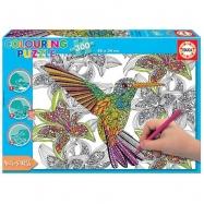 Vybarvovací puzzle 300 dílků - kolibřík