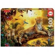 Puzzle 500 dílků - Leopard s mláďaty