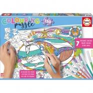 Kolorowanka puzzle Morski świat