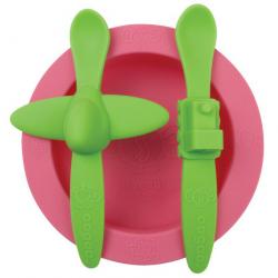 Różowo-zielony komplet stołowy Oogaa