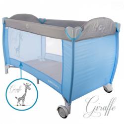 Dětská cestovní postýlka Giraffe - šedá, modrá, Ce19