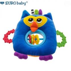 Plyšová hračka s hryzátkom a hrkálkou - Sovička - modrá