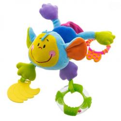 Plyšová hračka s kousátkem a chrastítkem  - Opička - modrá