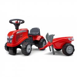 Odstrkovadlo traktor Massey Ferguson červené s volantem a valníkem