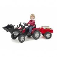 Traktor McCormik šlapací s přední lžící a valníkem červený