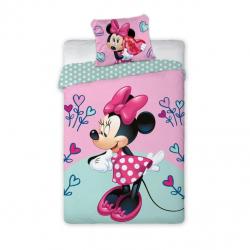 Detské obliečky Myška Minnie s farebnými srdiečkami 140x200 cm