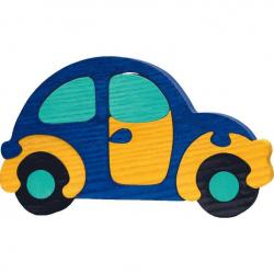 Dřevěné vkládací puzzle z masivu - Velké auto modré brouk