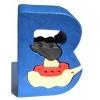 Dřevěné vkládací puzzle z masivu - Abeceda písmenko B loďka