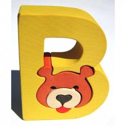 Dřevěné vkládací puzzle z masivu - Abeceda písmenko B medvěd