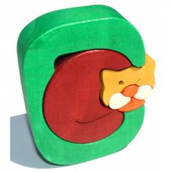 Dřevěné vkládací puzzle z masivu - Abeceda písmenko C kočka