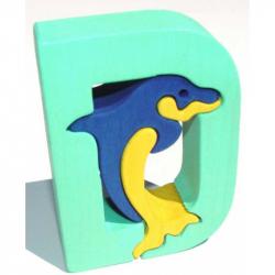 Dřevěné vkládací puzzle z masivu - Abeceda písmenko D delfín