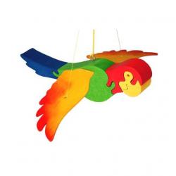 Dřevěné dekorace - Papoušek na zavěšení