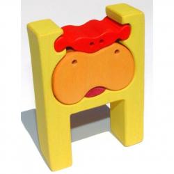 Dřevěné vkládací puzzle z masivu - Abeceda písmenko H hroch