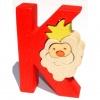 Drevené vkladacie puzzle z masívu - Abeceda písmenko K kráľ