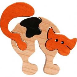 Dřevěné vkládací puzzle z masivu - vkládačka - Malá kočka