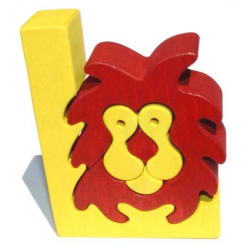 Dřevěné vkládací puzzle z masivu - Abeceda písmenko L lev