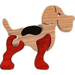 Dřevěné vkládací puzzle z masivu - vkládačka - Malý pejsek