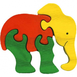 Dřevěné vkládací puzzle z masivu - vkládačka - Malý slon