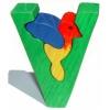 Dřevěné vkládací puzzle z masivu - Abeceda písmeno V ptáček