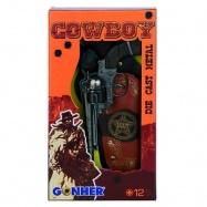 Kovbojská sada - revolever + šerifská hvězda kovový 12 ran