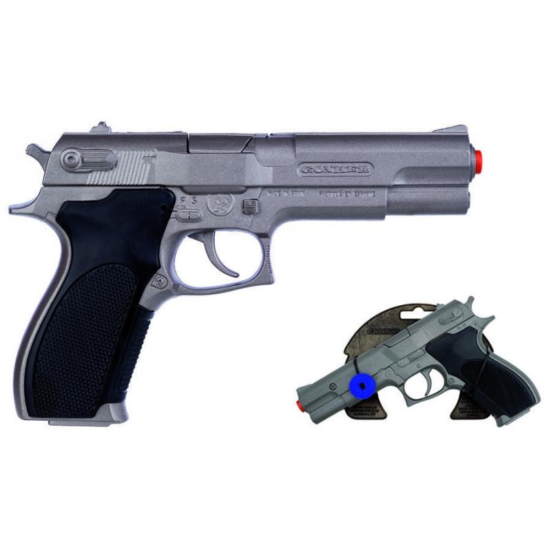 Policejní pistole stříbrná matná kovová 8 ran