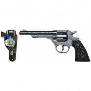 Revolver kovbojský strieborný, kovový - 8 rán