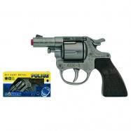 Policajný revolver kovový strieborný kovový 8 rán