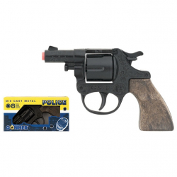 Policajný revolver kovový čierny 8 rán