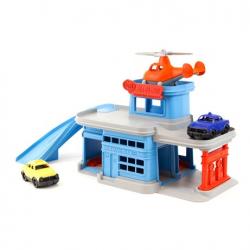 Green Toys Wielopoziomowy garaż niebieski z akcesoriami