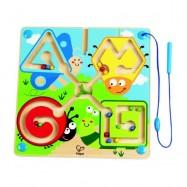 HAPE dřevěné hračky - dřevěný magnetický labyrint louka