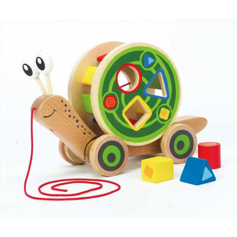 HAPE dřevěné hračky - dřevěný tahací motorický hlemýžď