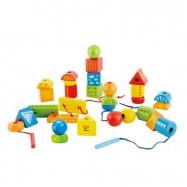 HAPE dřevěná hra - Provlékání barevných tvarů