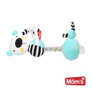 Edukační hračka závěsná s chrastítkem Medvídek - tyrkysový