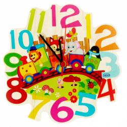 Hess Dětské dřevěné hodiny vláček se zvířátky