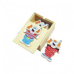 Dřevěné hračky - Oblékací puzzle - Šatní skříň slon