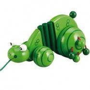 Dřevěné hračky - Tahací hračky - Tahací žabka