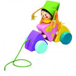 Dřevěné hračky - Tahací hračka vozík holčička