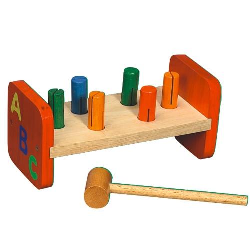 Dřevěné hračky - Dřevěná barevná zatloukačka