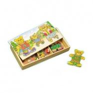Dřevěné hračky - Oblékací puzzle - Šatní skříň 3 medvědi