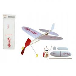 Letadlo Komár házecí model na gumu polystyren/dřevo 38x31cm v sáčku