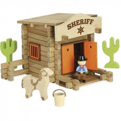 JEUJURA Drevená stavebnica 80 dielikov Sheriffská stanice