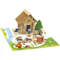 JEUJURA drevená stavebnica dom husky 50ks