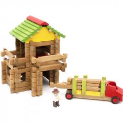 JEUJURA Drevená stavebnica 94 dielikov drevárska píla s ťahačom