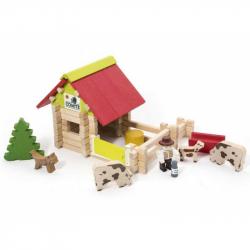 Drevená stavebnica Jeujura - 70 dielov - Malá farma