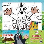 Puzzle k vymalování Krtek